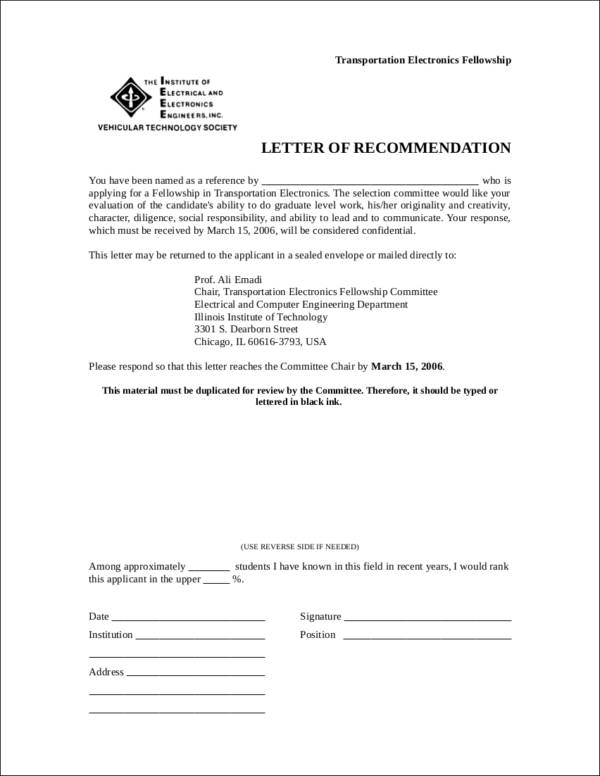 recommendation letter template example in doc