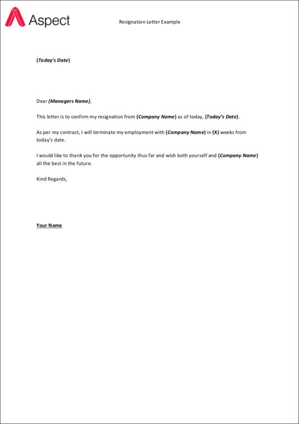 FREE 33+ Printable Resignation Letter Samples & Templates in ...