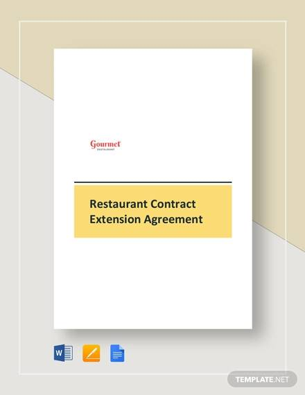 restaurant contract extension agreement