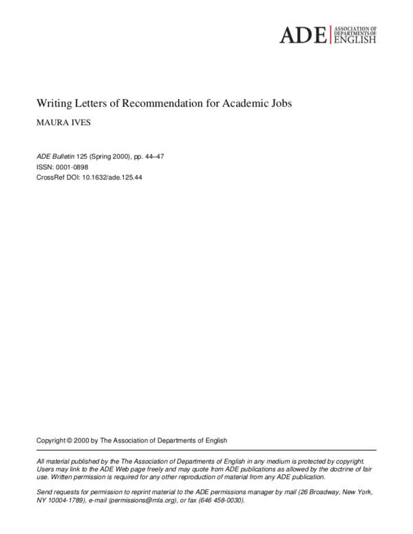 Sample Academic Job Recommendation Letter