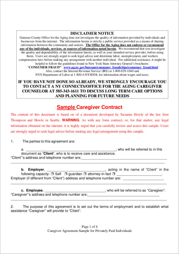 sample caregiver contract