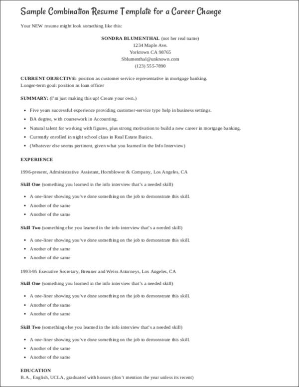 sample combination resume template for a career change