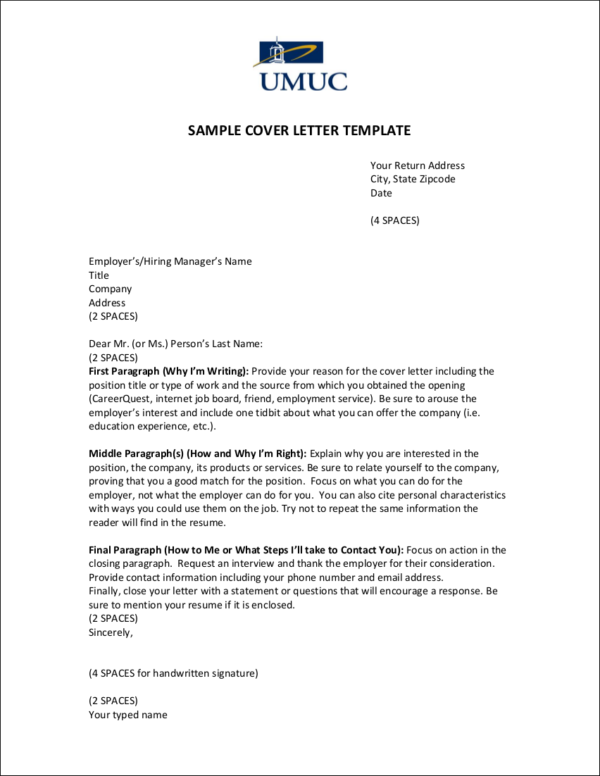 sample cover letter template