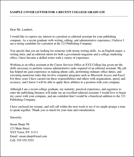 Graduate Marketing Cover Letter: Cover Letter Tips For First Time Job Seekers