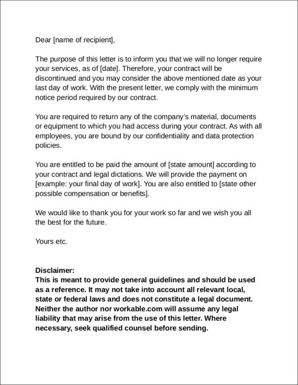 Employee Services Termination Letter