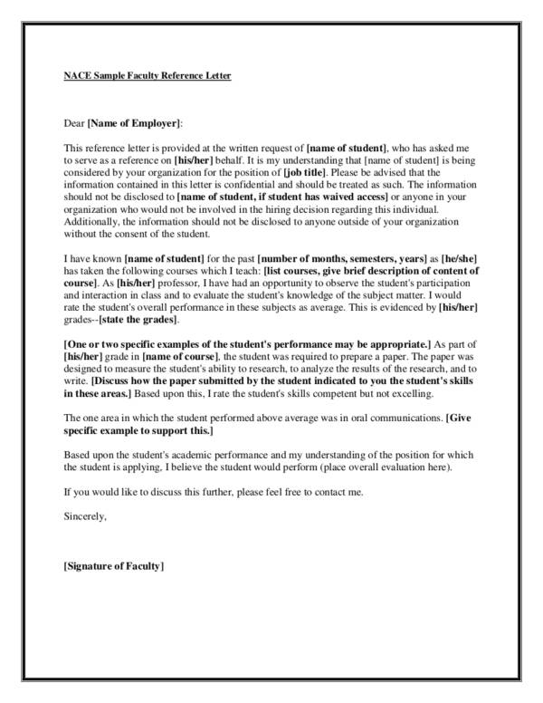 sample employment reference letter from previous professor