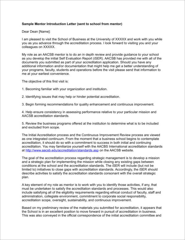 sample mentor introduction letter
