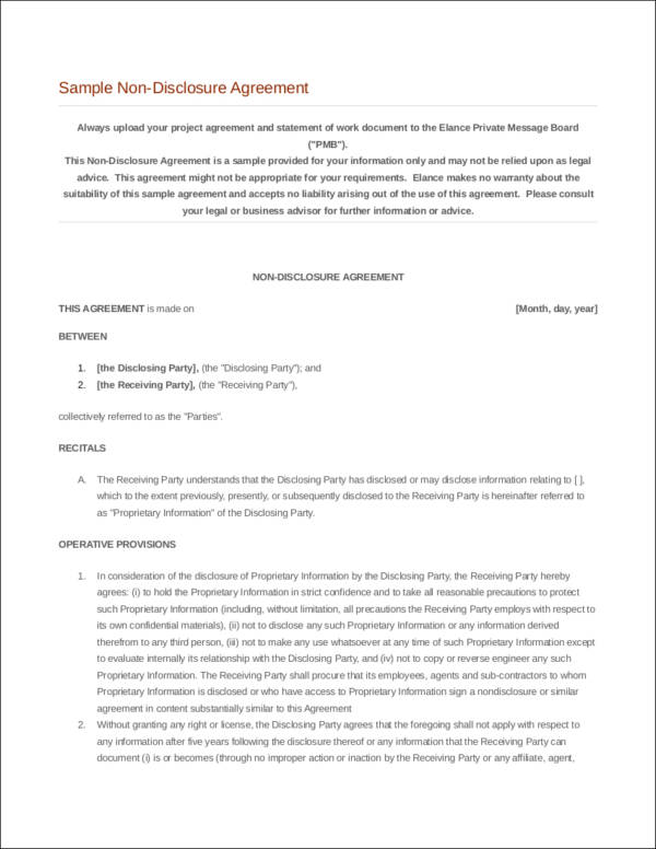 sample non disclosure agreement contract