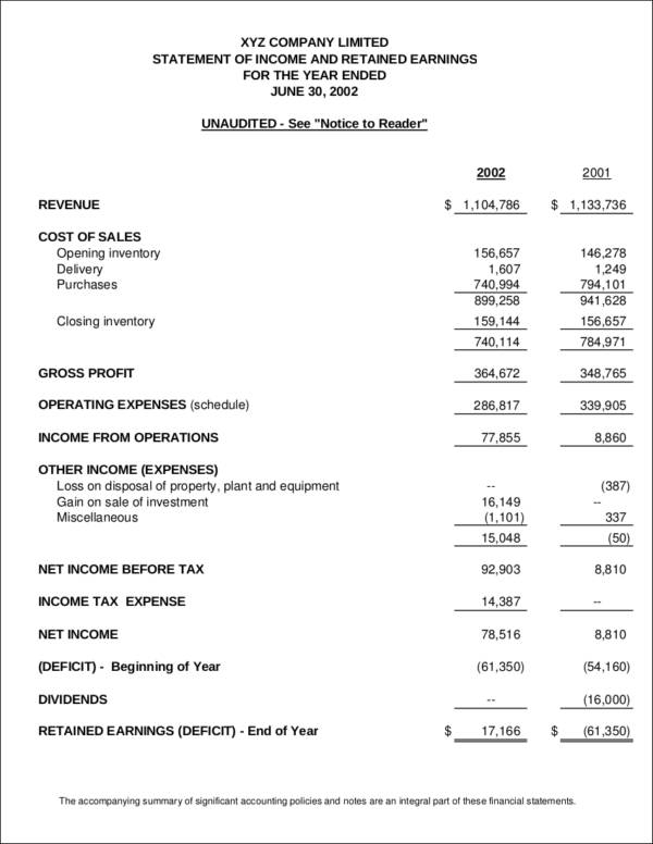 sample satement of income
