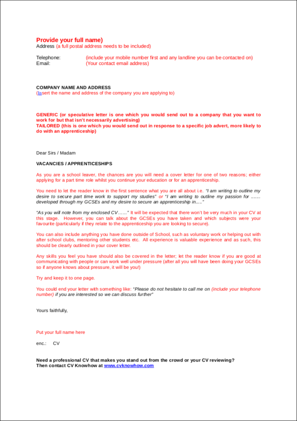 school leaver cover letter template