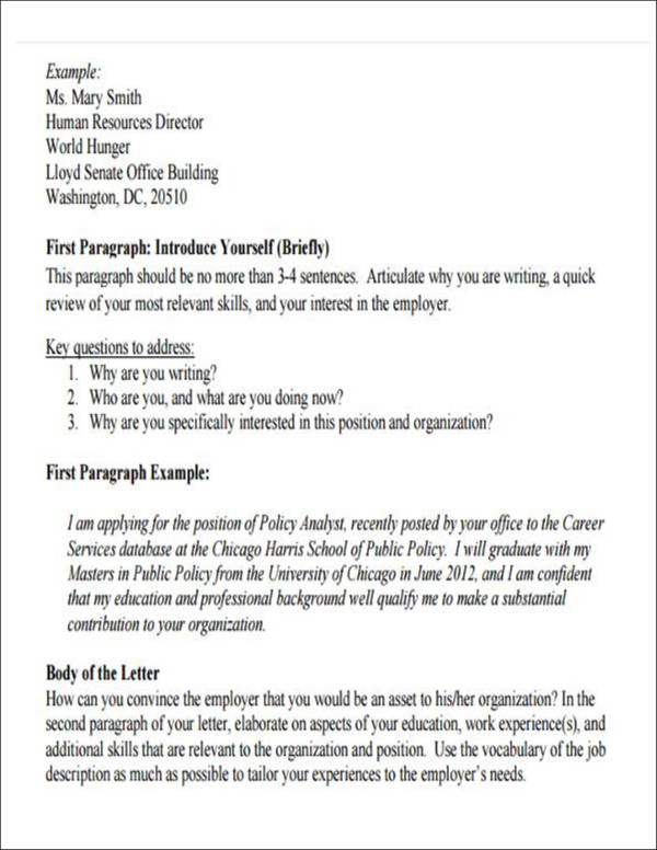 self introduction cover letter format