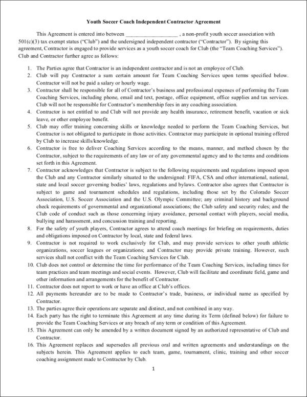 soccer coach independent contractor agreement