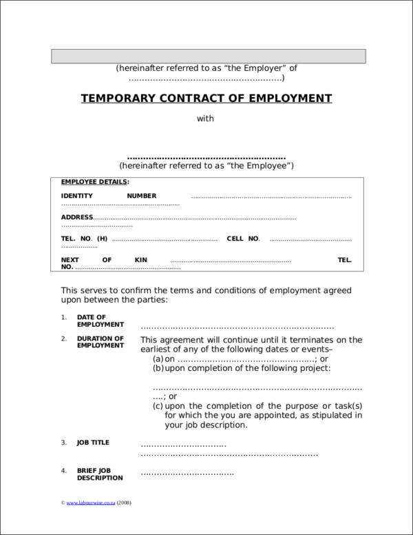 temporary contract of employment