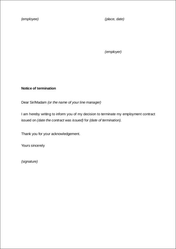 Termination Letter Notice For End Of Contract  How To Write A Termination Letter To An Employer