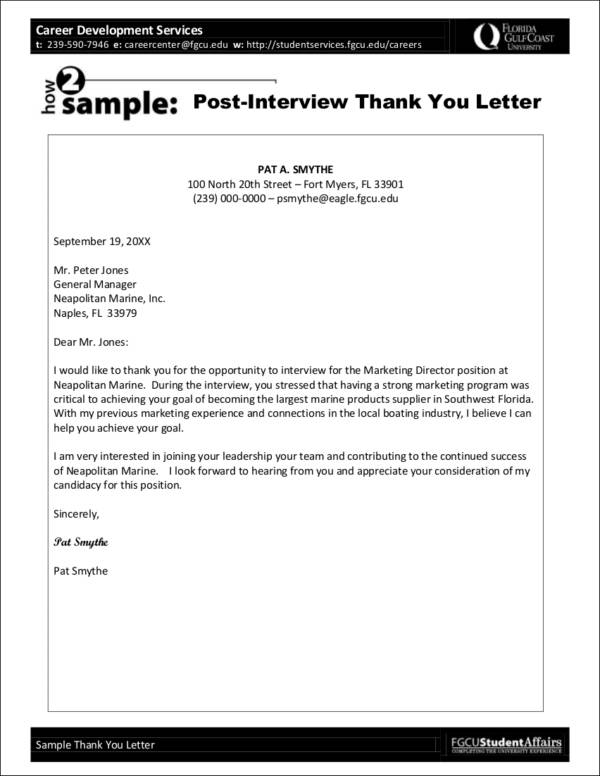 thank you letters after interview