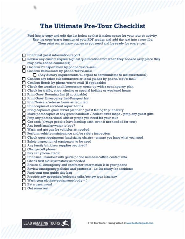 the ultimate pre tour checklist