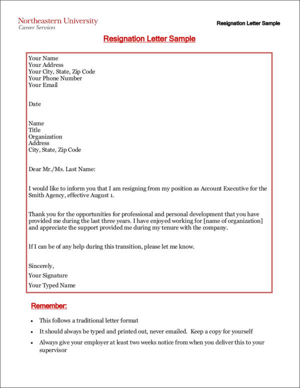 two weeks notice resignation letter sample