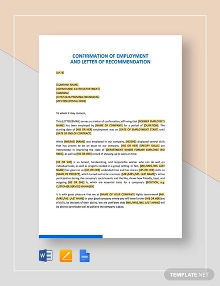 confirmation of employment and letter of recommendation