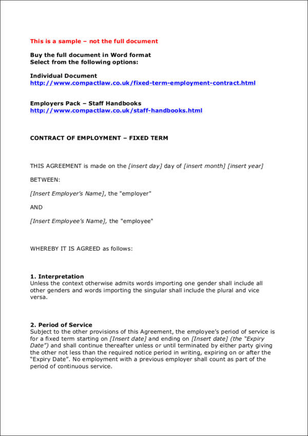 types of employment contracts Different types of employment contract in switzerland, a distinction is made between the different employment contracts described below: individual employment contracts, collective employment agreements, standard employment contracts.