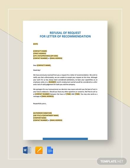 refusal of request for letter of recommendation