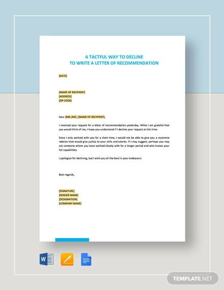 tactiful way to decline to write a letter of recommendation