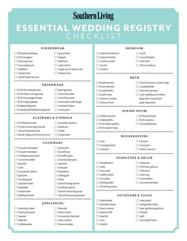 1 essential wedding registry checklist