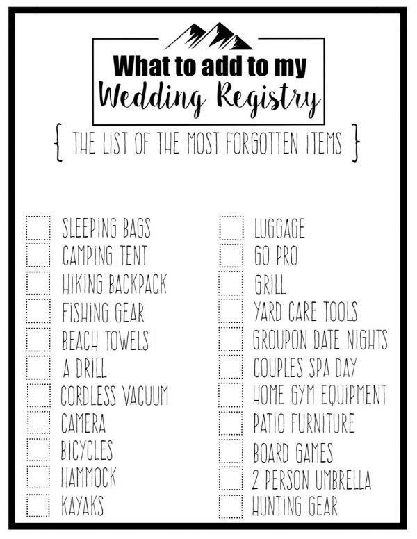 wedding registry checklists sample templates