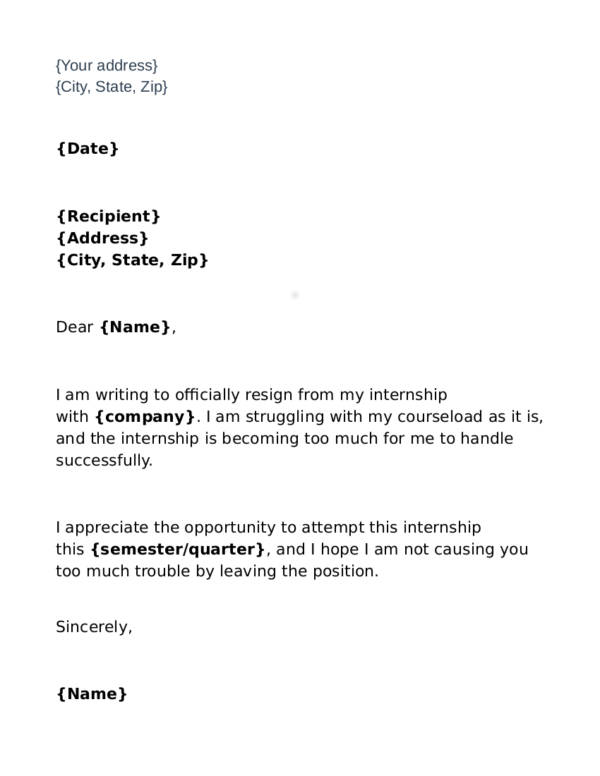 4 basic internship resignation letter