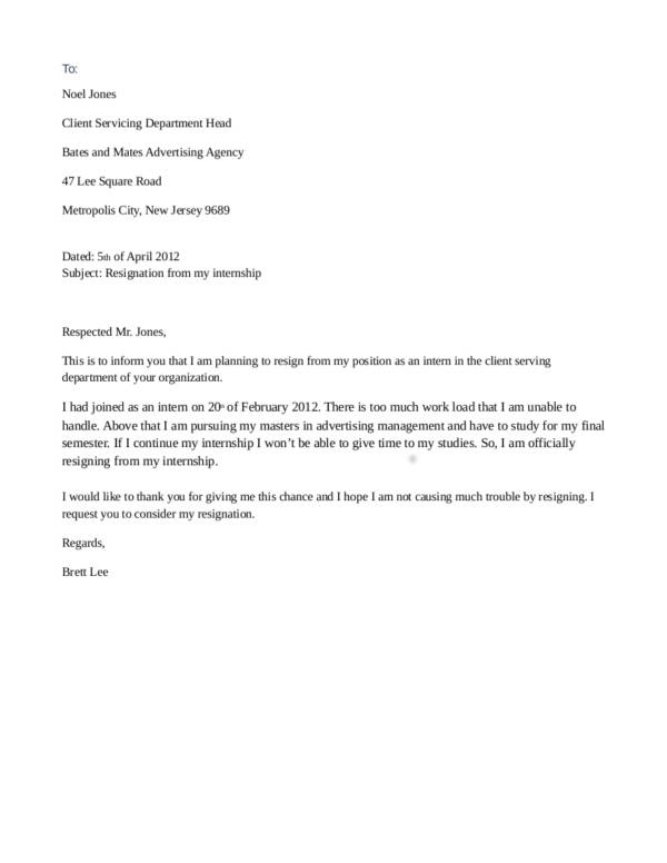 5 internship resignation letter template