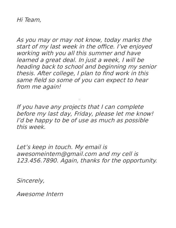 7 E Mail Internhip Resignation Letter