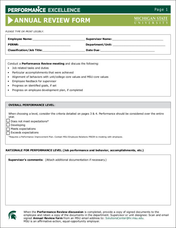 annual employee performance evaluation form template