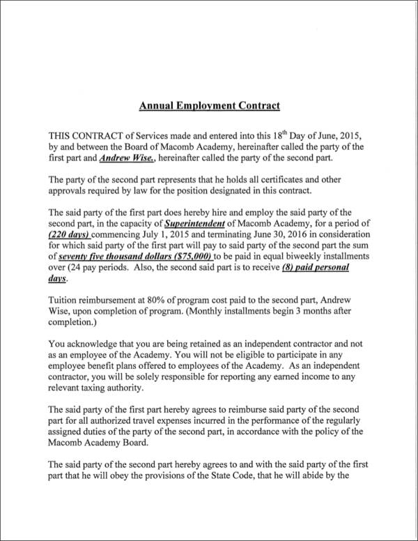 annual employment contract