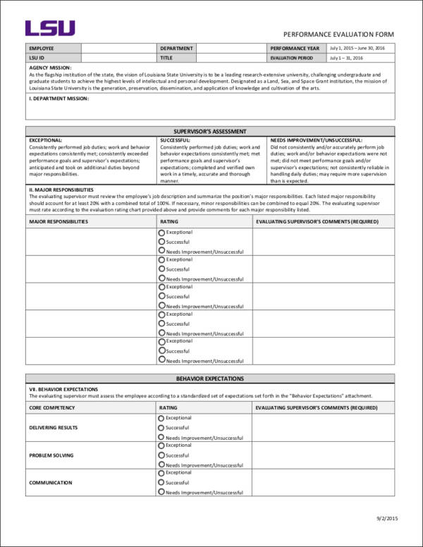 Employee Performance Evaluation Goals   Samples And Templates