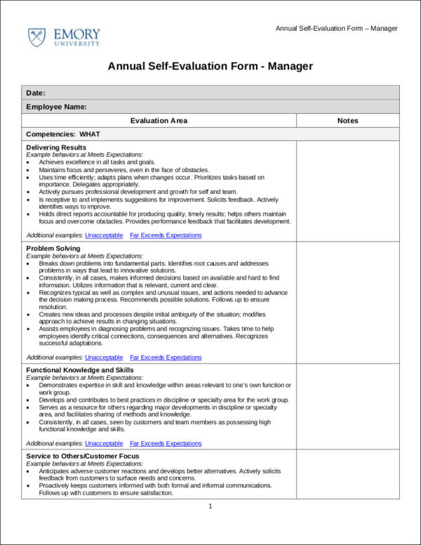 Annual Self Evaluation Form Template