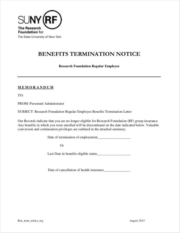 benefits termination notice sample