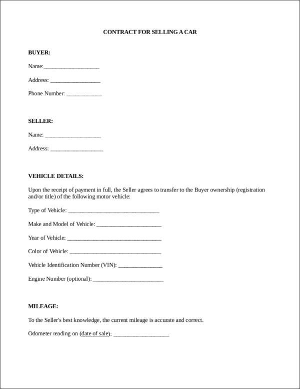 contract for selling a car