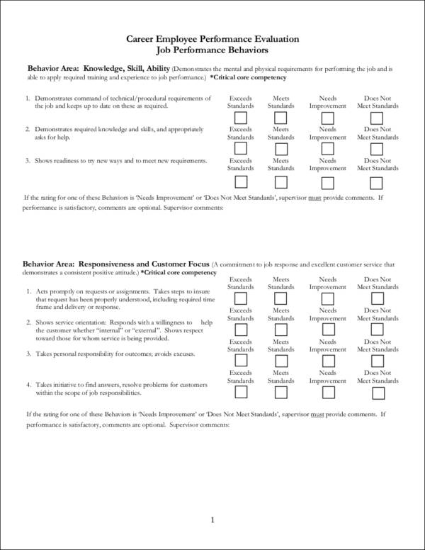 career employee performance evaluation form template
