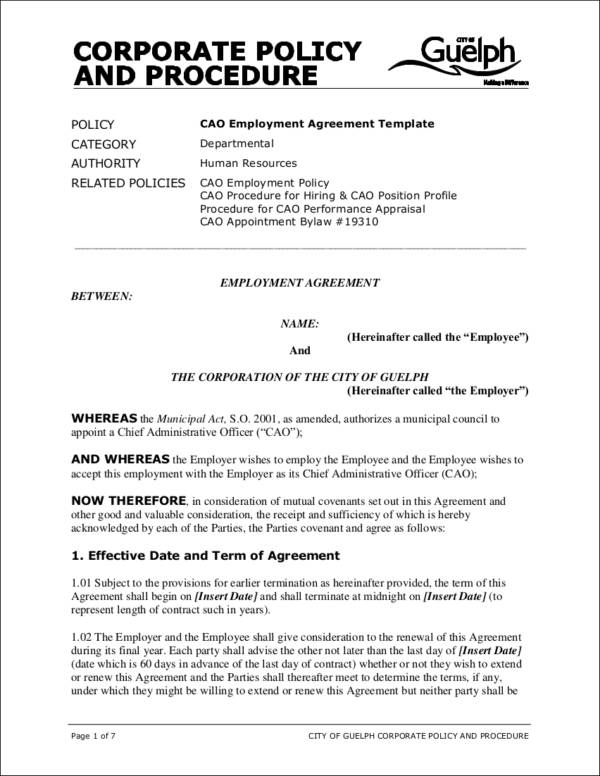 chief administrative officer employment contract