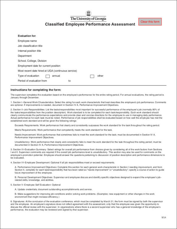 classified employee performance assessment form sample