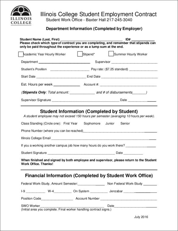 college student employment contract