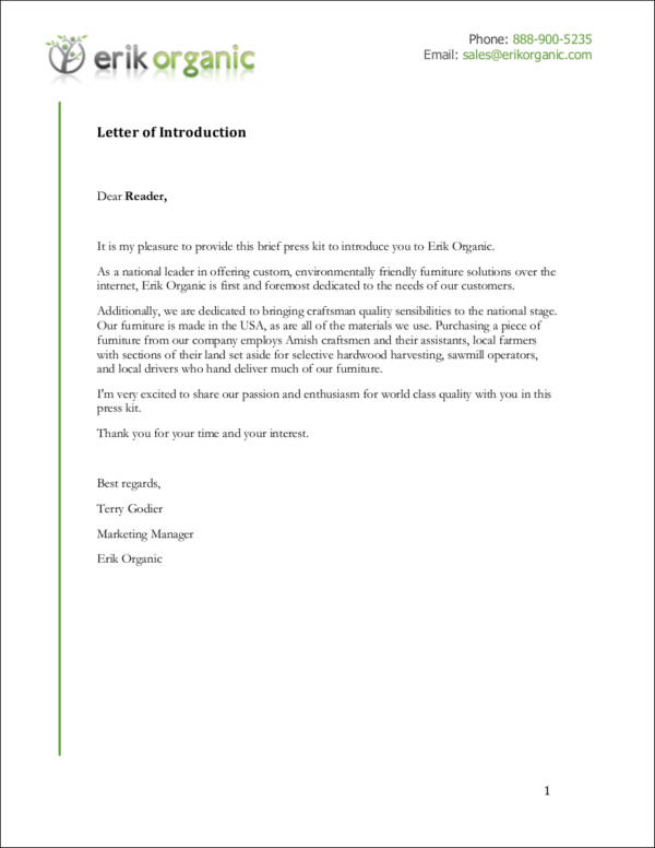 company portfolio letter of introduction