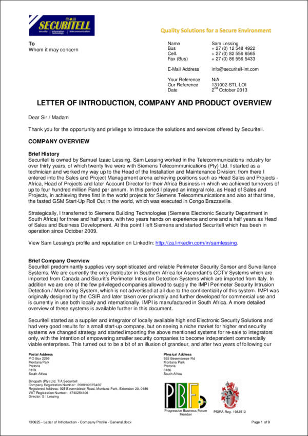 company profile letter of introduction