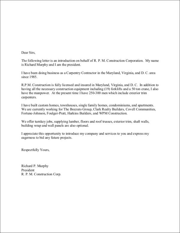 Cover Letter Of Introduction To Company