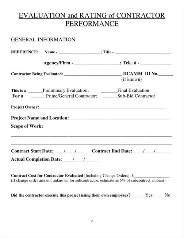 contractor performance evaluation form sample