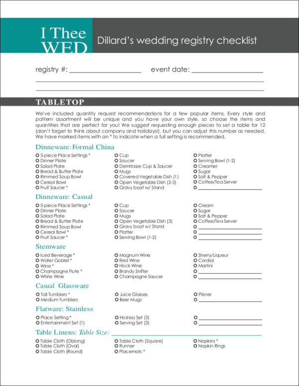 Wedding Registry Checklists - Free Samples In Pdf