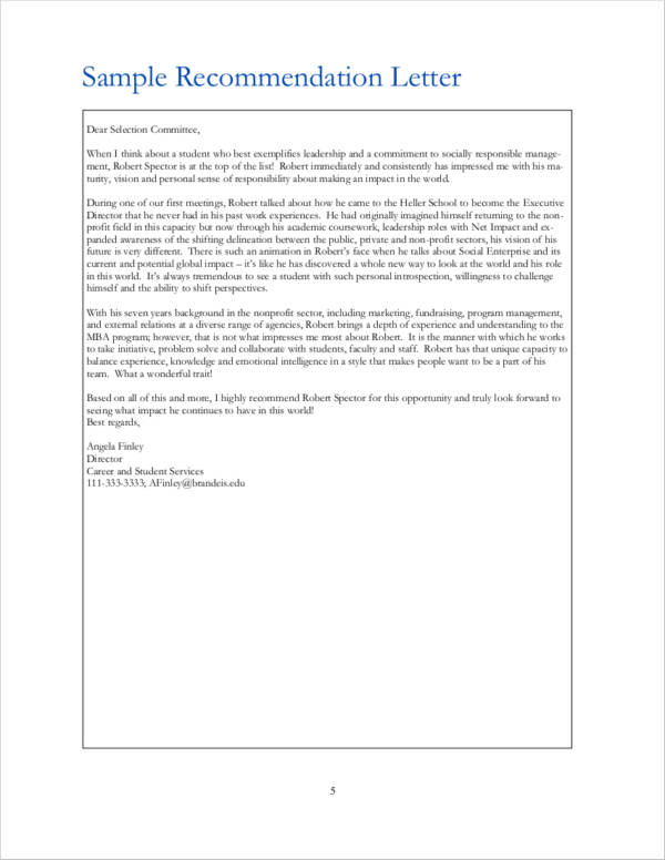 downloadable letter of recommendation for graduate school