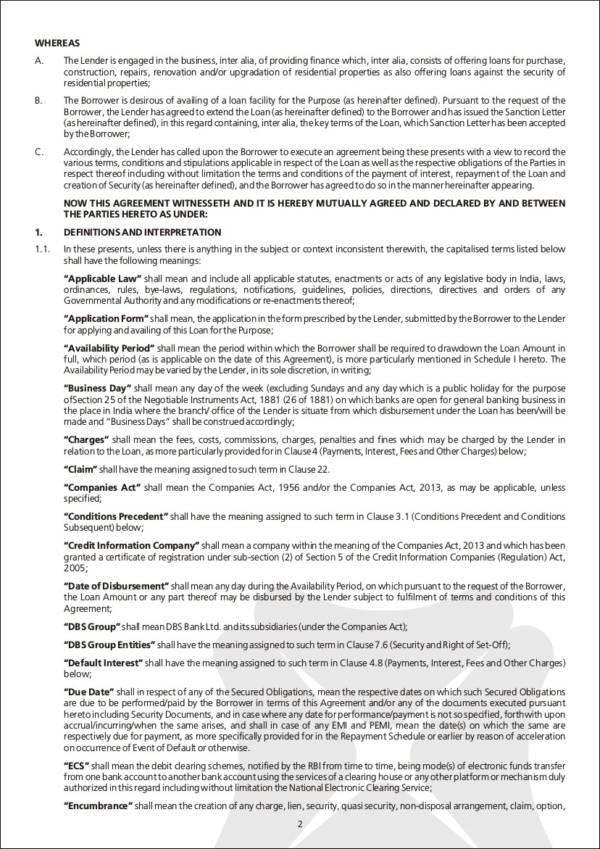 Mortgage Agreement Contract Samples  Templates In Pdf
