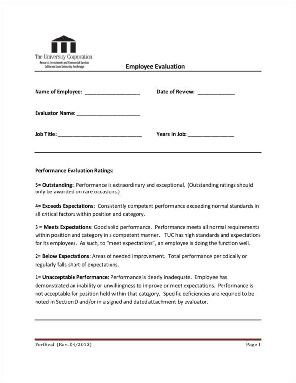 Importance Of An Employee Evaluation  Downloadable Templates And