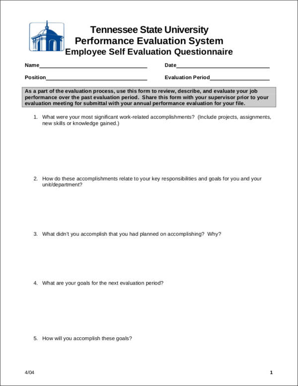 employee self evaluation questionnaire sample