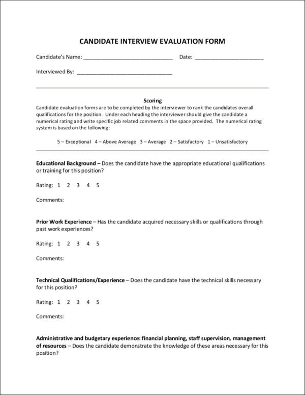 candidate application form template - importance of an employee evaluation sample templates